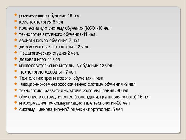развивающее обучение-16 чел кейс технология-6 чел коллективную систему обучен...