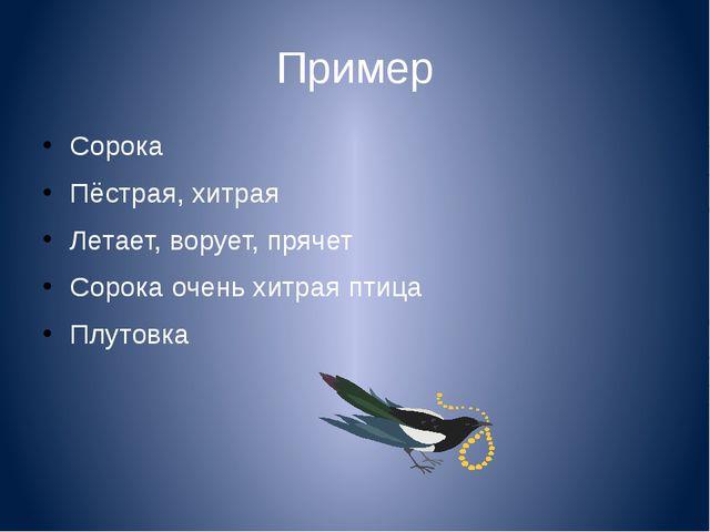 Пример Сорока Пёстрая, хитрая Летает, ворует, прячет Сорока очень хитрая птиц...