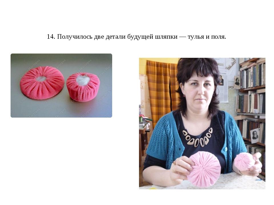 14. Получилось две детали будущей шляпки— тулья иполя.