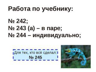 Работа по учебнику: № 242; № 243 (а) – в паре; № 244 – индивидуально; Для тех