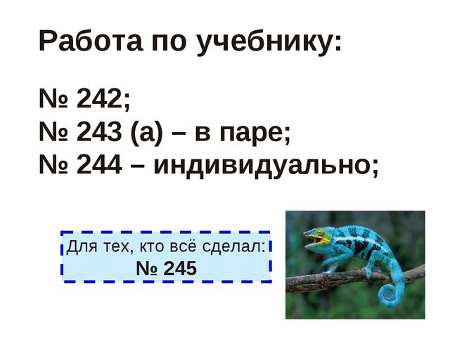 Работа по учебнику: № 242; № 243 (а) – в паре; № 244 – индивидуально; Для тех...