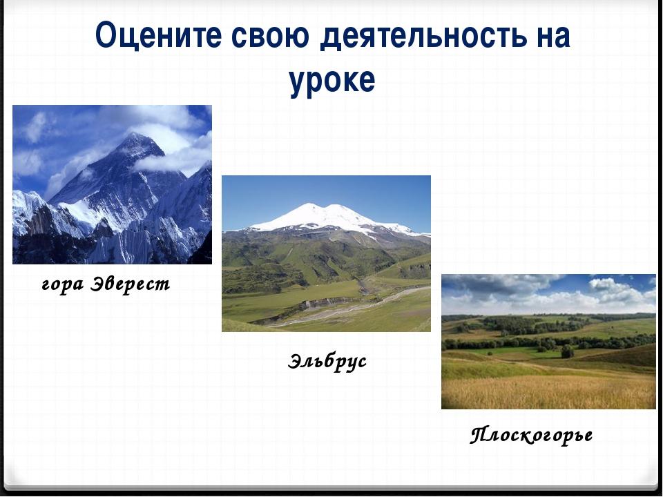 Оцените свою деятельность на уроке гора Эверест Эльбрус Плоскогорье