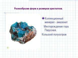 Разнообразие форм и размеров кристаллов. Коллекционный минерал - амазонит Мес