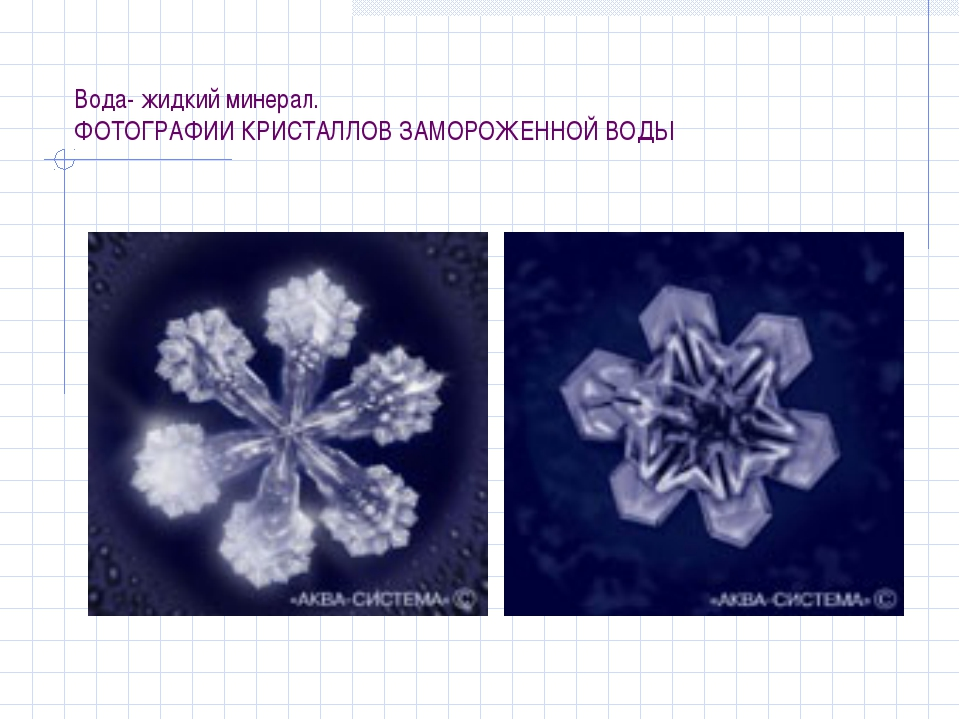 Вода- жидкий минерал. ФОТОГРАФИИ КРИСТАЛЛОВ ЗАМОРОЖЕННОЙ ВОДЫ