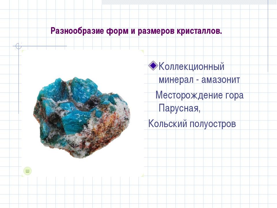 Разнообразие форм и размеров кристаллов. Коллекционный минерал - амазонит Мес...