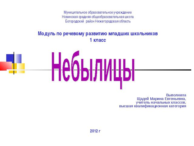 Муниципальное образовательное учреждение Новинская средняя общеобразовательна...