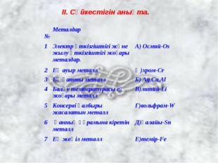ІІ. Сәйкестігін анықта. №Металдар 1Электр өткізгіштігі және жылу өткізгішт