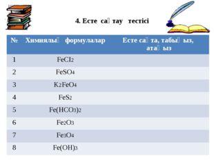 4. Есте сақтау тестісі №Химиялық формулаларЕсте сақта, табыңыз, атаңыз 1Fe