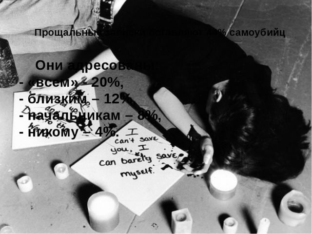 Прощальные запискиоставляют 44% самоубийц Они адресованы: - «всем» - 20%, -...