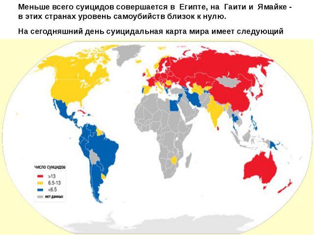 Меньше всего суицидов совершается вЕгипте, наГаити и Ямайке - в этих стр...