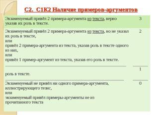 С2. С1К2 Наличие примеров-аргументов Экзаменуемый привёл 2 примера-аргумента