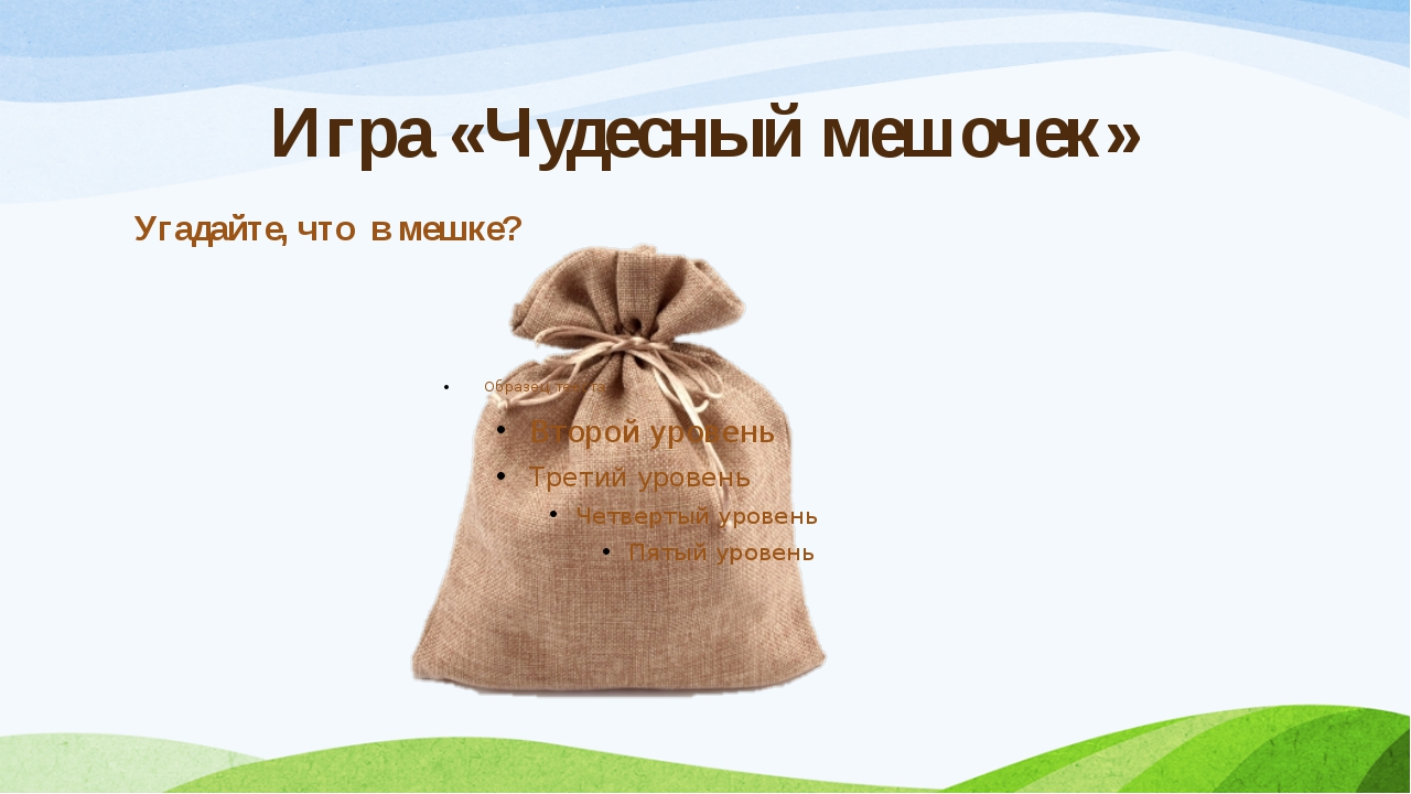 Игра «Чудесный мешочек» Угадайте, что в мешке?