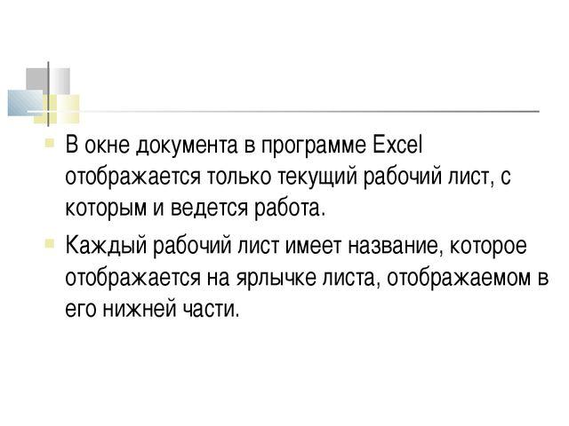 В окне документа в программе Excel отображается только текущий рабочий лист,...