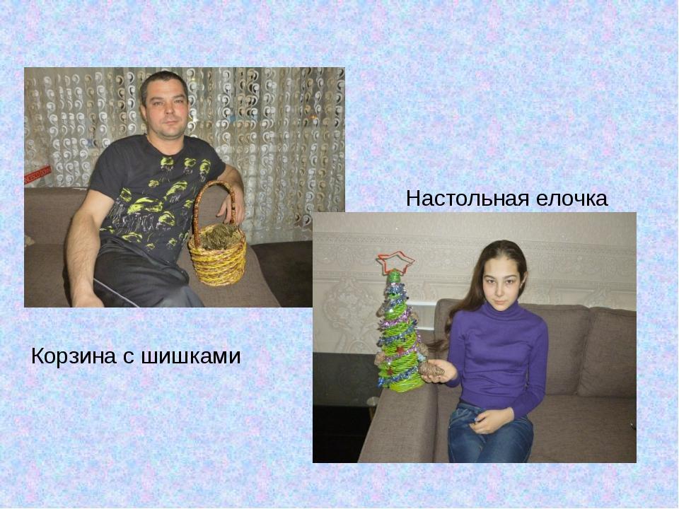 Корзина с шишками Настольная елочка