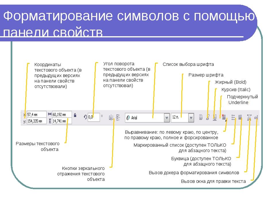 Форматирование символов с помощью панели свойств Координаты текстового объект...
