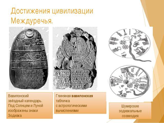 Вавилонский звёздный календарь. Под Солнцем и Луной изображены знаки Зодиака...