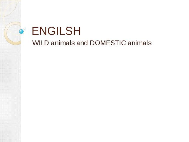 ENGILSH WILD animals and DOMESTIC animals