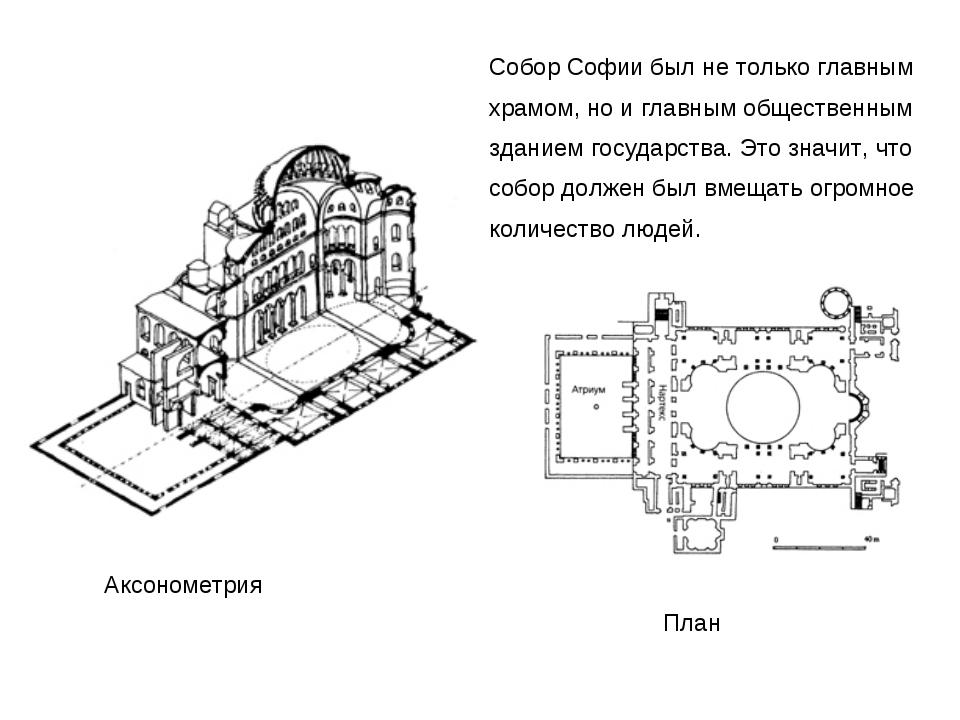 Аксонометрия План Собор Софии был не только главным храмом, но и главным обще...