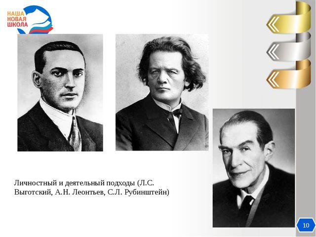 Актуальность 10 Личностный и деятельный подходы (Л.С. Выготский, А.Н. Леонтье...