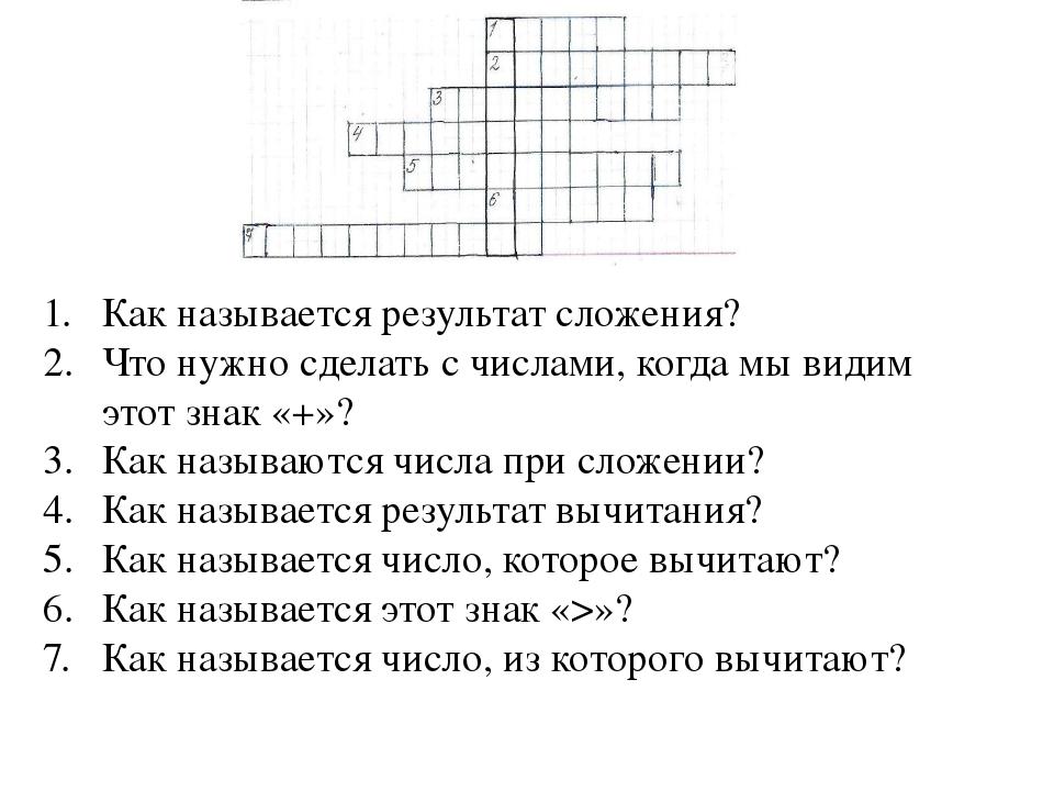 Как называется результат сложения? Что нужно сделать с числами, когда мы види...