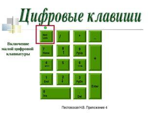 Num Lock / * 5 8 6 9 PgUp 4 7 Home 2 1 End 3 PgDn 0 Ins . Del _ + Enter Включ