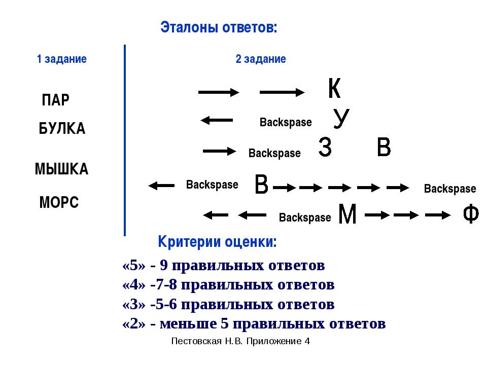 «5» - 9 правильных ответов «4» -7-8 правильных ответов «3» -5-6 правильных от...