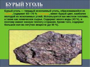 Бурый уголь— твердый ископаемый уголь, образовавшийся изторфа, содержит 65—