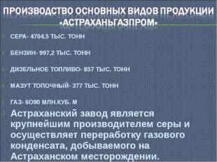 СЕРА- 4704,5 ТЫС. ТОНН БЕНЗИН- 997,2 ТЫС. ТОНН ДИЗЕЛЬНОЕ ТОПЛИВО- 857 ТЫС. ТО