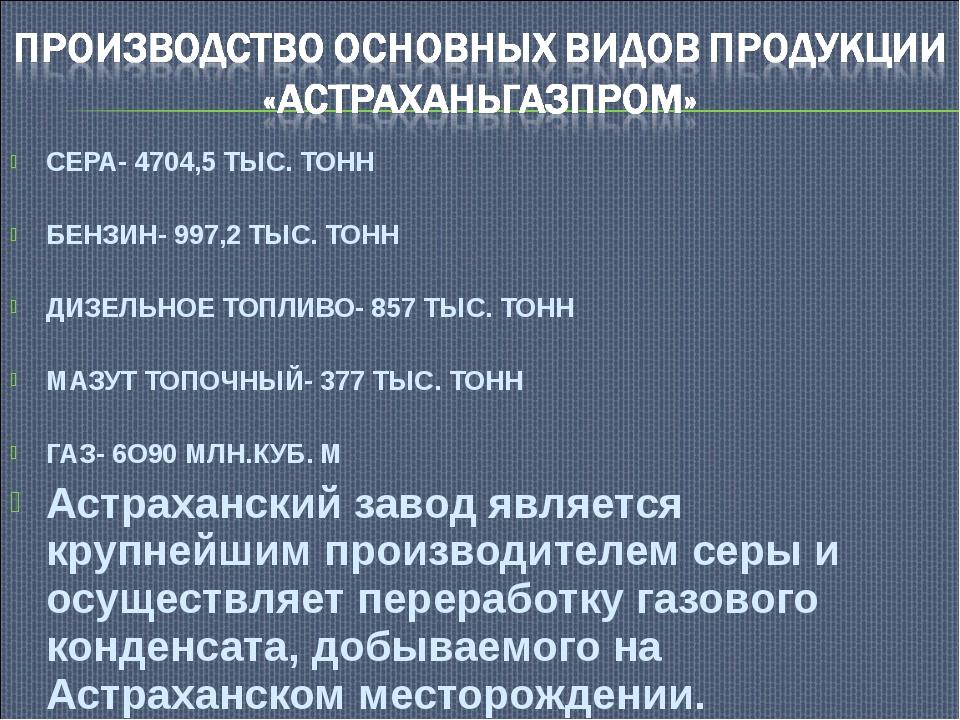 СЕРА- 4704,5 ТЫС. ТОНН БЕНЗИН- 997,2 ТЫС. ТОНН ДИЗЕЛЬНОЕ ТОПЛИВО- 857 ТЫС. ТО...