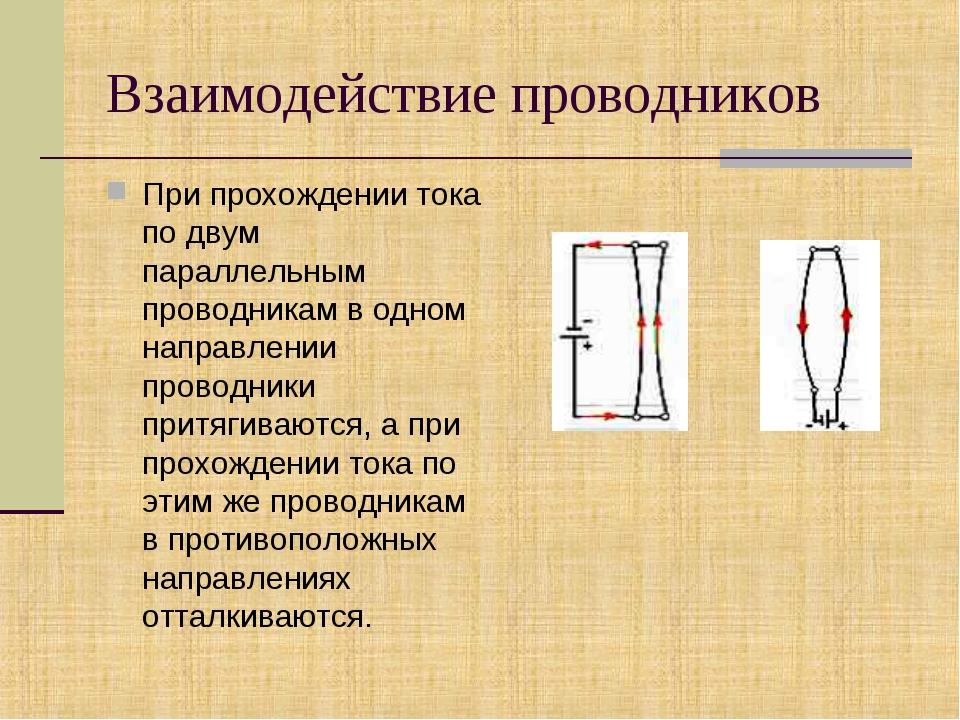 Взаимодействие проводников При прохождении тока по двум параллельным проводни...