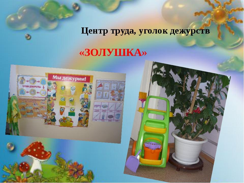 Центр труда, уголок дежурств «ЗОЛУШКА» «ЗОЛУШКА»