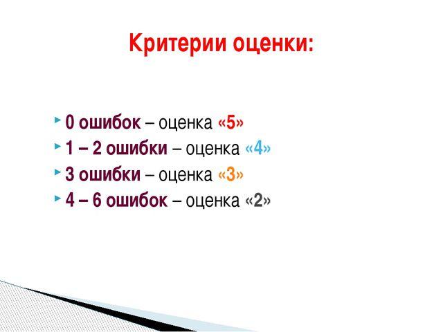 0 ошибок – оценка «5» 1 – 2 ошибки – оценка «4» 3 ошибки – оценка «3» 4 – 6 о...