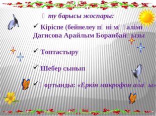 Өту барысы жоспары: Кіріспе (бейнелеу пәні мұғалімі Дагисова Арайлым Боранба