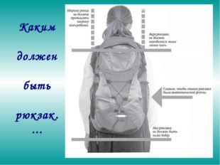 Каким должен быть рюкзак. ...
