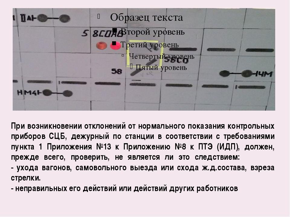 При возникновении отклонений от нормального показания контрольных приборов СЦ...