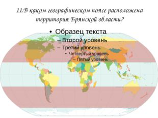11.В каком географическом поясе расположена территория Брянской области?