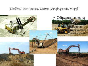 Ответ: мел, песок, глина, фосфориты, торф