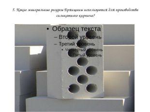 5. Какие минеральные ресурсы Брянщины используются для производства силикатно