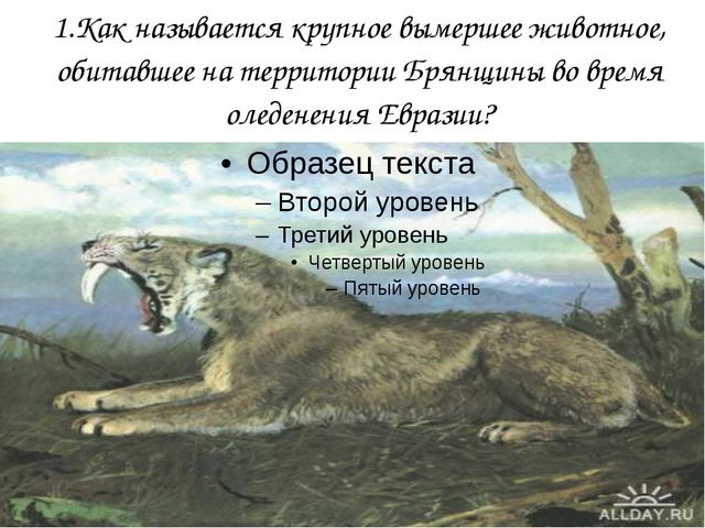 1.Как называется крупное вымершее животное, обитавшее на территории Брянщины...