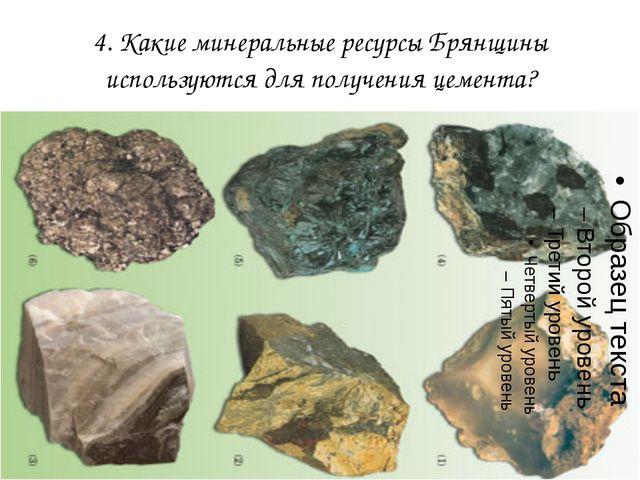 4. Какие минеральные ресурсы Брянщины используются для получения цемента?