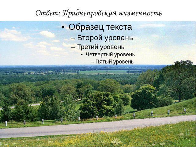 Ответ: Приднепровская низменность