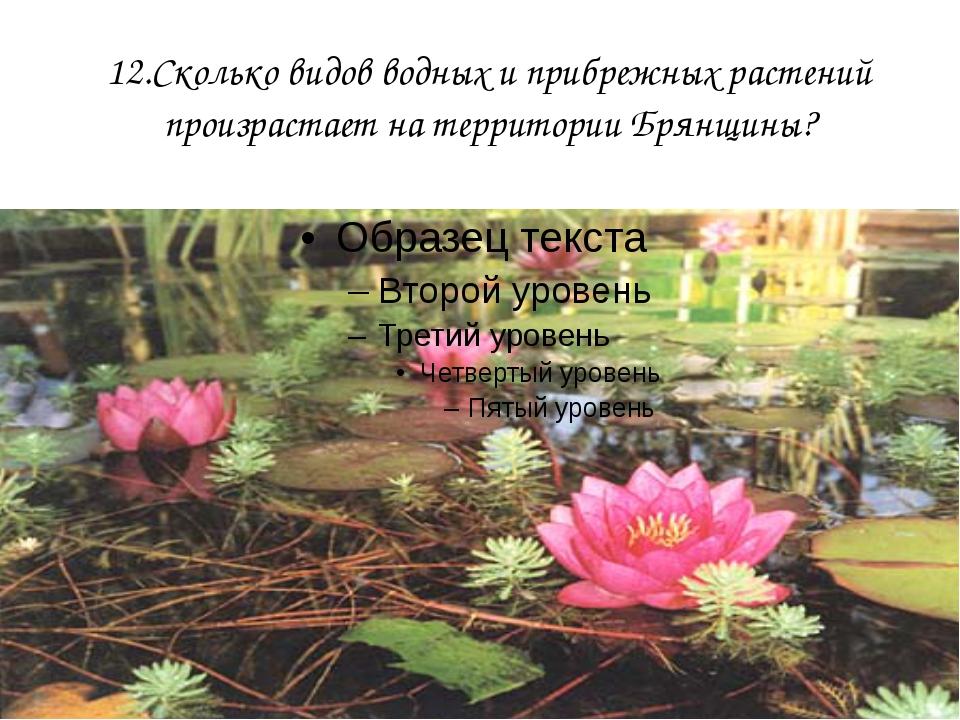 12.Сколько видов водных и прибрежных растений произрастает на территории Брян...