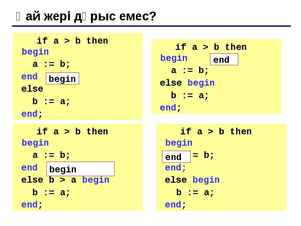 Нұсқа 2. Блок-схема тармақталудың толымсыз түрі басы max:= a; енгізу a,b шығ...