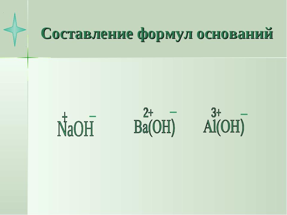 Составление формул оснований