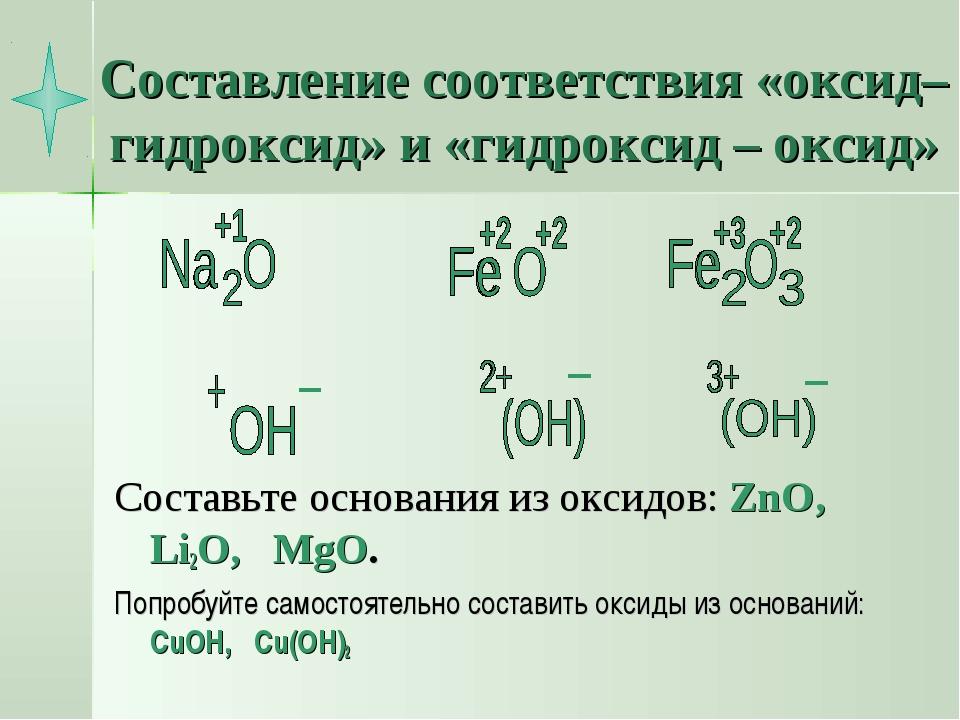 Составление соответствия «оксид– гидроксид» и «гидроксид – оксид» Составьте о...