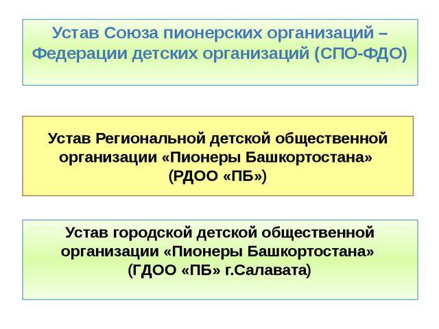 Устав Региональной детской общественной организации «Пионеры Башкортостана» (...
