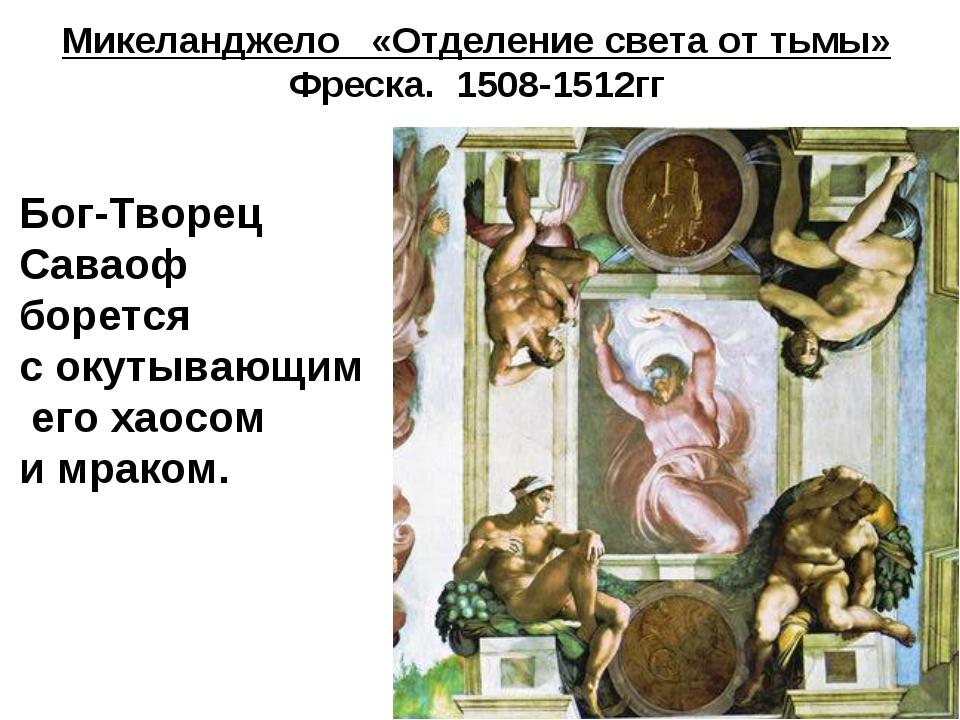 Микеланджело «Отделение света от тьмы» Фреска. 1508-1512гг Бог-Творец Саваоф...