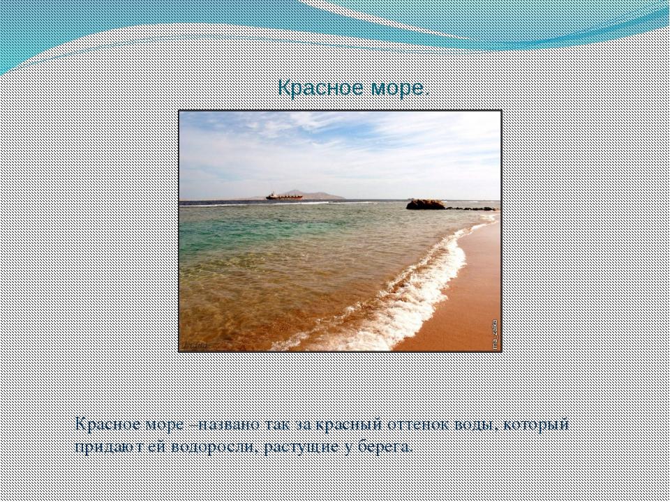 Красное море. Красное море –названо так за красный оттенок воды, который прид...