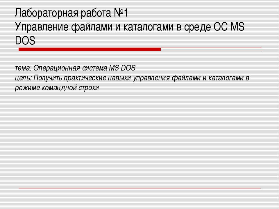 Лабораторная работа №1 Управление файлами и каталогами в среде OС MS DOS тема...