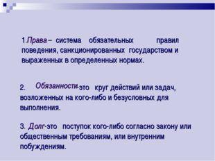 1. – система обязательных правил поведения, санкционированных государством и